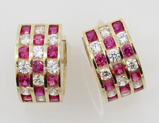 14K Yellow Gold 5mm Thick 3 Tier Red 21 Stone CZ Polished Hoop Huggies Earrings