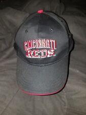 CINCINNATI REDS HAT CAP ~ BLACK ~ ADJUSTABLE VELCRO STRAP