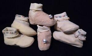 Vintage set of 3 baby booties