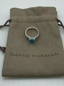 David Yurman Petite Wheaton Ring with blue Topaz & Diamonds Sz 7