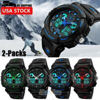 2x Men's Date Quartz Military Digital Tactical Shock Sports Luminous Wrist Watch