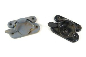 Lot of 2 Antique Metal Window Latches Sash Locks Hardware Sets Grey Black 2 1/2""