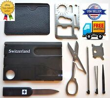 Credit Card Knives,11 in 1 Multi Tool, Swiss Style 2 Lot wallet Pocket Survival