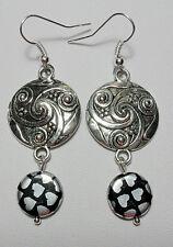 Dangle earrings - Tibetan silver + glass beads, hearts