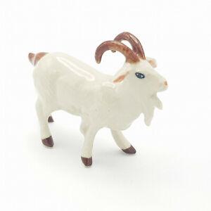 Miniature Ceramic Goat figurine White with Horns