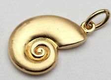NICE 18K Yellow Gold Pendant Charm Sterling Silver Ammonite SeaShell Conch Shell