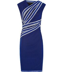 REISS Fabia Wrap Detail Dress in Blue Passion UK 10 US 6 NWT $225