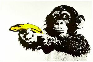 "Banksy style Monkey with Banana Gun Pop Art Poster CANVAS PRINT ~ 8"" X 10"""
