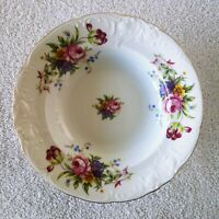 Royal Kent Rose China Soup Plates Poland Gold Trim Set Lot of 4 White