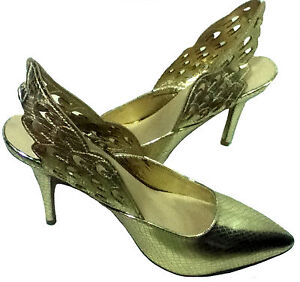 NWOB TEXTURED LIGHT GOLD ANGEL WINGED SLING HEELED PUMP SHOES_S 9/ 10