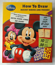 HOW TO DRAW-MICKEY MOUSE&FRIENDS-Stickers Stencils Pens Pencil Eraser Sharpener