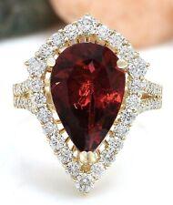 6.00 Carat Natural Tourmaline 18K Solid Yellow Gold Diamond Luxury Ring