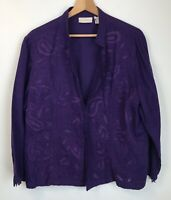Chicos Size 3 Blazer Jacket Purple Paisley Open Front Long Sleeve Womens XL