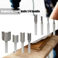 8pcs 1/4inch Shank Router Bit Straight Cutter Routing Woodworking Set Tool