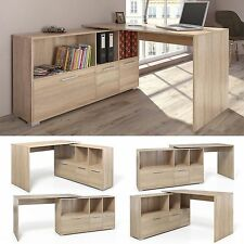 Large Corner Wooden Computer Desk Home Office L Shape Furniture Cabinet Storage