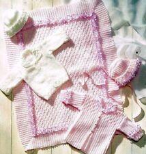 KNITTING PATTERN baby blanket cot cover frilled edge cardigan Prem Tiny DK 792