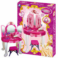 GIRLS TOY GLAMOUR PRINCESS PINK DRESSING TABLE LIGHT SOUND GIRLS WITH STOOL