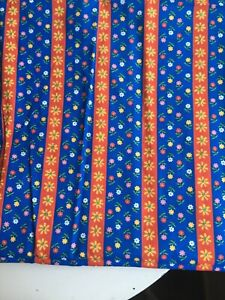 Vintage Calico Fabric 1-1/4 Yds Blue/Red