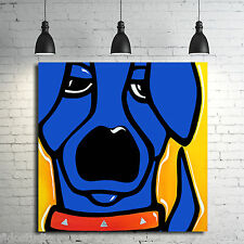 Original Abstract giclee Modern Decor Blue DOG Canvas Wall Art by Fidostudio