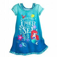Girl MERMAID ARIEL NIGHTSHIRT Child XS 4 Blue Disney Store Pajamas Nightgown PJs