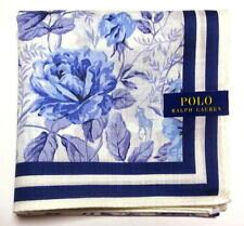 POLO Ralph Lauren Handkerchief hanky scarf bandana Blue Flower Cotton Auth New