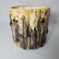Vintage Drip Glaze Ceramic Bamboo Majolica Planter 70s 1976 Vase Container Brown