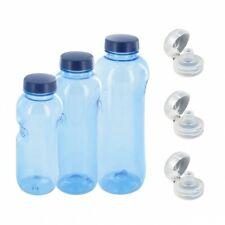 Kavodrink Tritan 0,5+0,75+1 L Wasserflasche BPA frei + 3x Trinkdeckel Flip Top