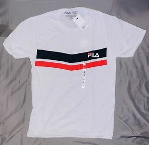 FILA Men's White T-Shirt With Red & Blue Lines NEW MSRP $20