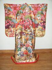 Heavily Brocaded Silk Japanese Uchikake Wedding Kimono w/ Pheasants & Floral