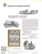 #28 10c Robert Frost Poet #1526  USPS Commemorative Stamp Panel  w/FDC