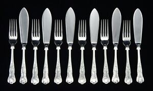 12 HEAVY VINTAGE SILVER PLATED KINGS PATTERN FISH KNIVES AND FORKS SHEFFIELD