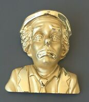 Vintage large clown face with bow pin Brooch gold  tone metal