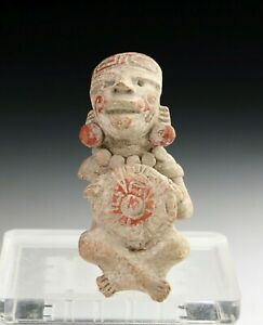 *SC* PRE COLUMBIAN, POTTERY FIGURE OF SEATED WARRIOR, 200-700 AD!