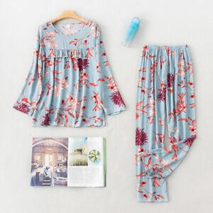 Women Cotton Pajamas Set Pyjama Print Sleepwear Nightwear Loungewear Home Suit