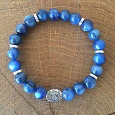 Gemstone chakra yoga Braccialetto Fatto A Mano Blu Kyanite regalo di guarigione Reiki 18cm 308