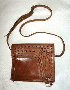 VINTAGE HAND CRAFTED LEATHER PURSE with LONG SHOULDER STRAP