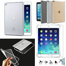 Ultra Thin Clear TPU Gel Skin Case Cover+Tempered Glass For Apple iPad Mini1,2,3