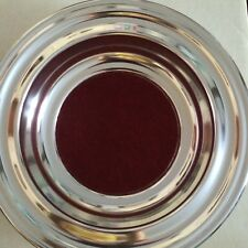 Artistic Churchware Silvertone Offering Plate with Red Pad
