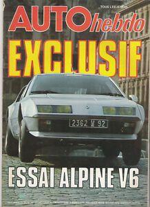 AUTO HEBDO 34 ESSAI ALPINE A310 V6 GP JAPON MARTINI PORSCHE RACING TEAM LANCIA