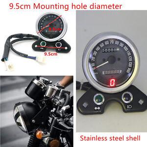 Motorcycle Odometer Speedometers Gear Digital Display 9.5cm Mount Hole Universal