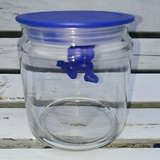 Alessi Gianni Little hanging man glass storage jar Blue 4. 5 Inches, pre-owned