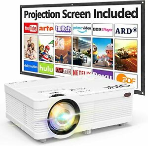 QKK AK-81 1080P HD With Projection Screen, 6000 Lumen Projector Home Theater