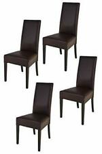 TOMMYCHAIRS Set 4 sedie modello LUISA fusto wengé rivestito ecopelle color moka