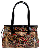 Batik Design Handmade 100% Pure Leather Womens Shantiniketan Shoulder Bag
