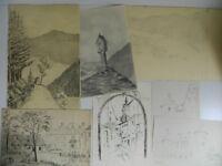 Reunión 5 Dibujos Firmado Paisaje de Alsacia Gaston Brandt de Fecha 1945