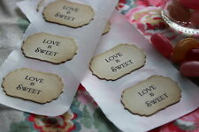 LOVE IS SWEET-Adhesive Labels-Seals-Mini Jam Jar-Vintage Style-Favour-Candy Bar