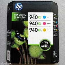 Set 3 HP 940xl hp940xl inchiostro CIANO c4907ae Magenta c4908ae GIALLO c4909ae ORIGINALE