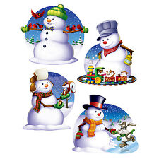 "CHRISTMAS SNOWMAN CUTOUTS DECORATION, 4 DESIGNS, 16"", BEISTLE, NEW"