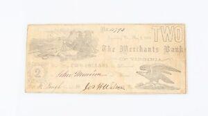1861 Confederate Two Dollar Note Merchants Bank Lynchburg Virginia Civil War
