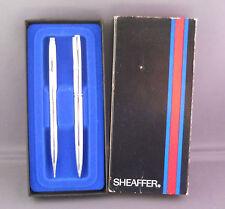 Sheaffer White Dot Bright Chrome Ball Pen Set-working-Orginal Box